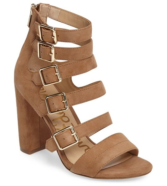 Sam Edelman yasmina buckle strap gladiator sandal in golden caramel suede - Bold suede straps ladder from the toe to above the ankle...