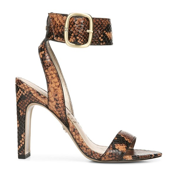 Sam Edelman yola python-embossed leather ankle-strap sandals in dusty orange