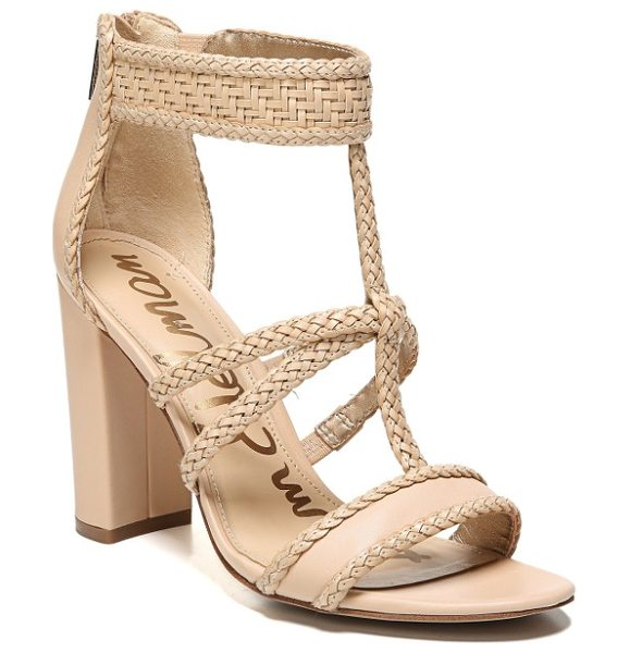SAM EDELMAN yordana woven t-strap sandal - A braided T-strap and a woven ankle cuff relax a...