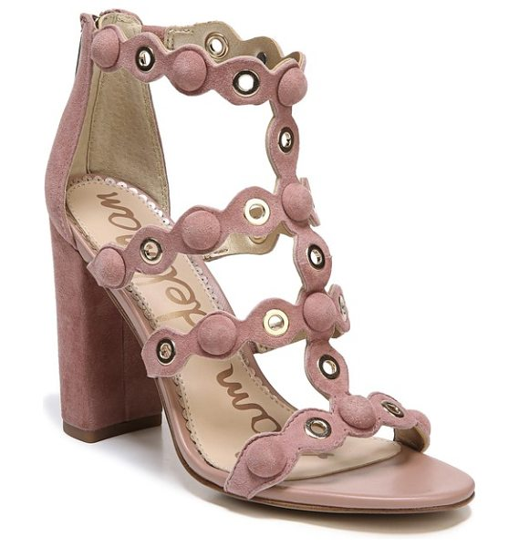 Sam Edelman yuli grommet sandal in dusty rose leather - Gleaming grommets and covered buttons punctuate the...