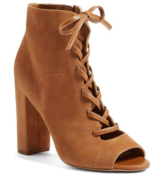 Sam Edelman yvie bootie in saddle suede leather - A lofty column heel amplifies the modern sophistication...