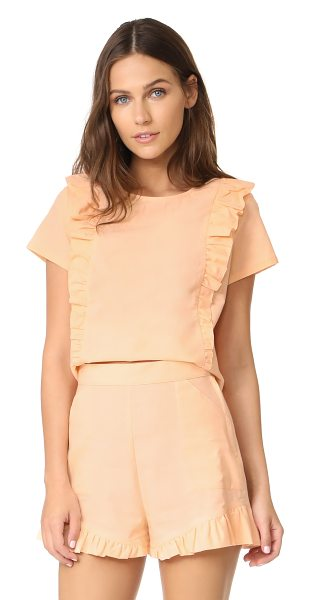 Samantha Pleet fin blouse in peach - A cropped Samantha Pleet blouse with ruffles at the...