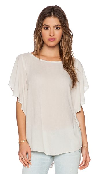 Sam&Lavi Seraphina top in taupe - Poly blend. Ruffle sleeves. Asymmetric hem. SAND-WS212....