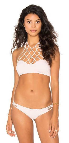 San Lorenzo High Neck Bikini Top in pink - 94% nylon 6% spandex. Hand wash cold. Double sided....