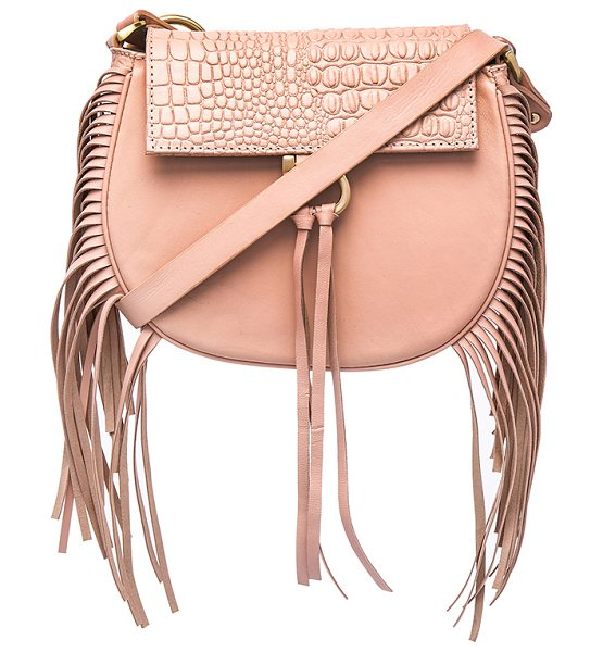 Sancia Babylon bar bag mini croc in blush - Embossed leather and leather exterior with poly fabric...