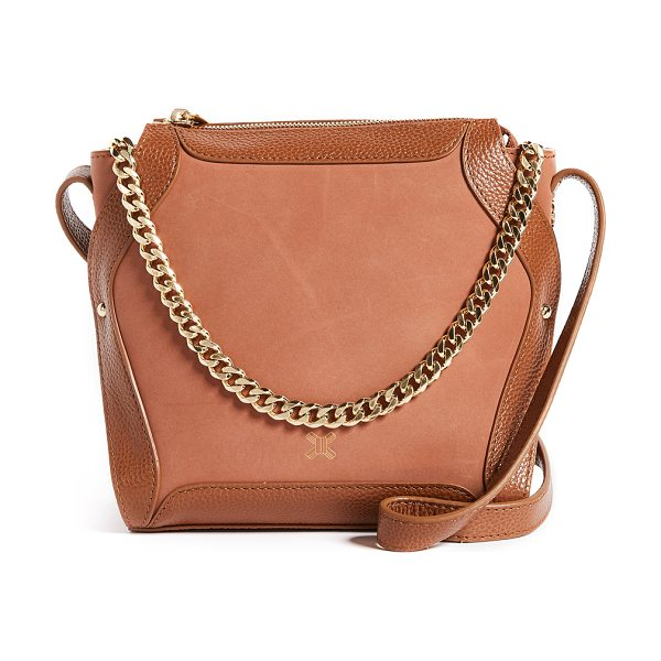SANCIA lilou chain cross body bag in cognac - Leather: Cowhide Zip at top Zip interior pockets Patch...