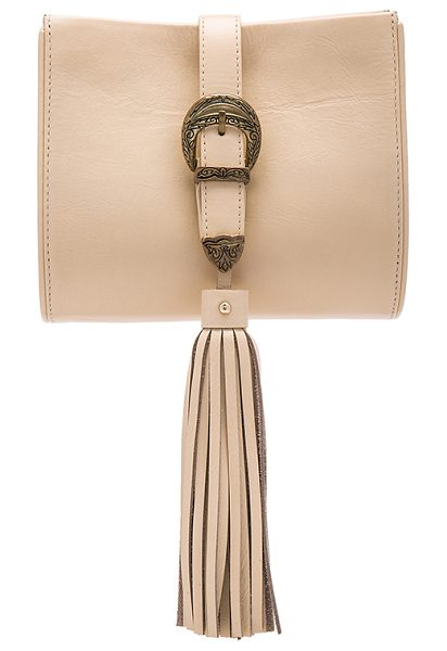 Sancia x Vanessa Mooney Buckle Clutch in beige - Leather and suede exterior with poly fabric lining....