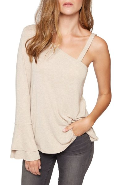 SANCTUARY anisa rib one-shoulder tee - A flared-cuff statement sleeve balances the one-shoulder...