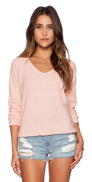Sanctuary Beach sweater in peach - 85% poly 15% acrylic. Hand wash cold. Banded hem....