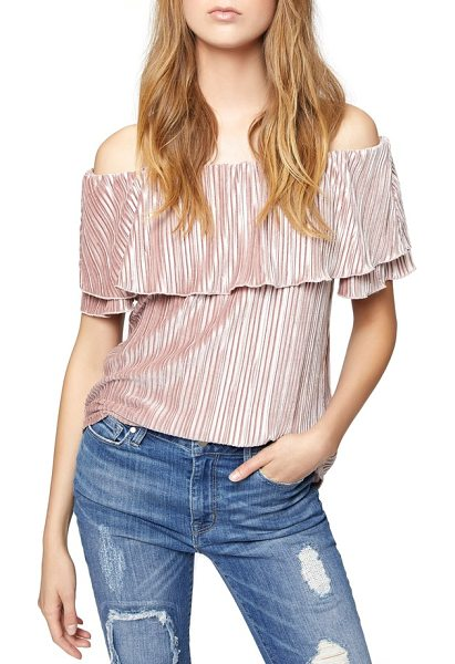 Sanctuary celeste off the shoulder top in celestial pink - A rich, satiny sheen emboldens this enchanting blouse...
