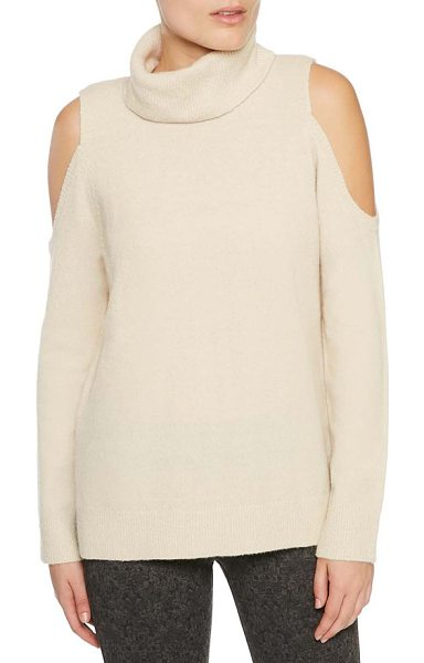 Sanctuary cold shoulder turtleneck sweater in champagne