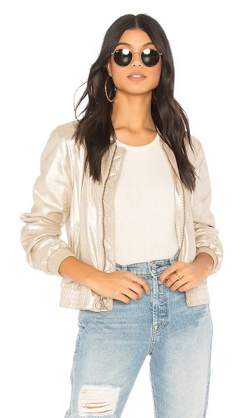 Sanctuary Cool Gang in the Town Jacket in metallic gold - Poly blend. Dry clean only. Front zipper closure with...