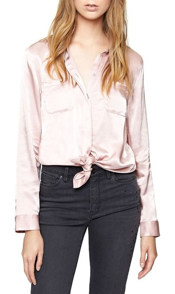 Sanctuary dreamer tie front shirt in celestial pink - Satiny shimmer elevates a staple button-down designed...