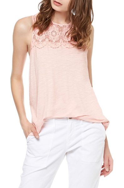 Sanctuary estee crochet yoke tank in chalk pink