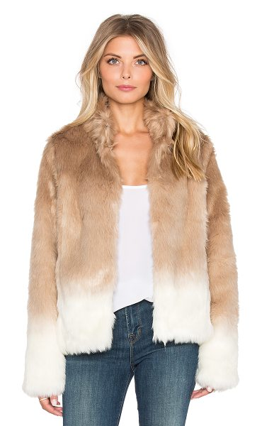 Sanctuary Faux fur chubby funnel neck bomber in tan - Self: 64% acrylic 36% polyLining: 87% poly 11% rayon 2%...