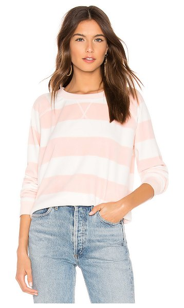 Sanctuary La Brea Stripe Pullover in pink - Poly blend. Hand wash cold. Velvet fabric. Rib knit...