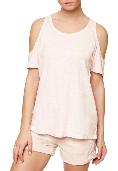 Sanctuary lou cold shoulder tee in barely pink - Flirtatious shoulder cutouts put a girly spin on a...