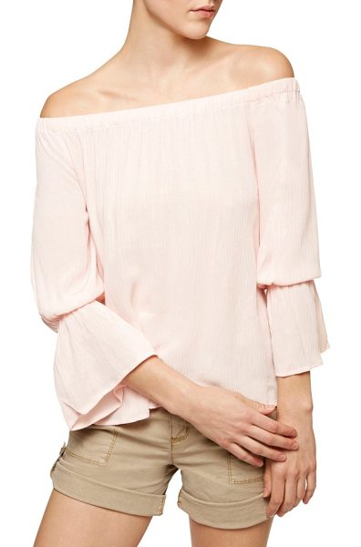 Sanctuary off the shoulder blouse in barely pink - Gauzy fabric, a shoulder-flaunting neckline and flouncy...