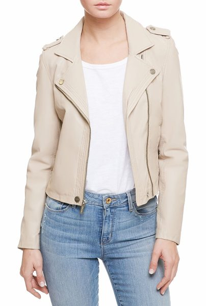 Sanctuary one of a kind moto jacket in taupe - Iconic moto style lightens up for a new season in pale...