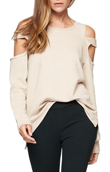 Sanctuary park slope cold shoulder sweatshirt in beige - Cozy with a sexy twist: a slouchy pullover features dual...