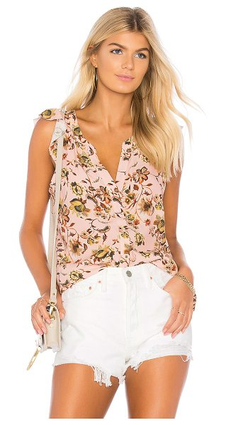 Sanctuary Ruffle Tank in pink - 100% viscose. Front button closure. Ruffle sleeves....