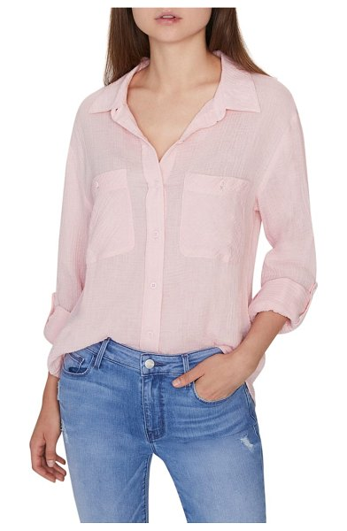 Sanctuary steady boyfriend roll tab shirt in pink - Here's a boyfriend-inspired shirt that all your...
