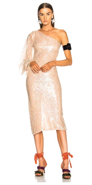 Sandra Mansour Calypso Dress in neutrals,pink - 100% poly.  Made in Lebanon.  Dry clean only.  Fully...