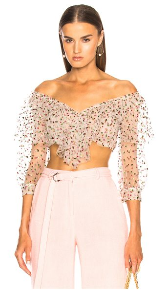 Sandra Mansour Sable Rose Top in metallic,white,polka dots,pink - 67% poly 33% polyamide.  Made in Lebanon.  Dry clean...