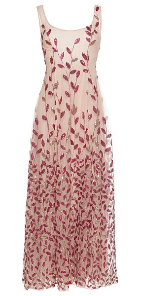 Sandra Mansour Sirène Beaded Midi Dress in pink - This *Sandra Mansour* dress features a full flared skirt...