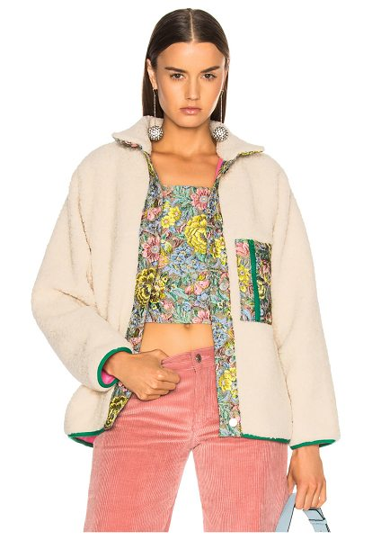 SANDY LIANG Bayside Faux Sherpa Jacket in neutrals,floral - Self: 55% acrylic 24% wool 21% poly - Contrast Fabric:...