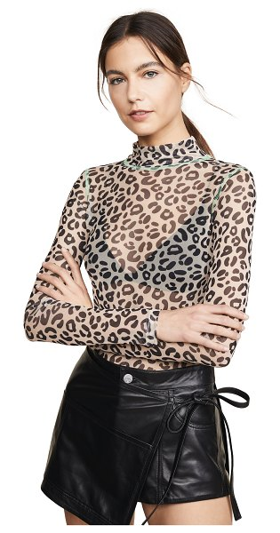 Sandy Liang promise top in pale leopard - Fabric: Mesh Tonal stiching Leopard print Waist-length...