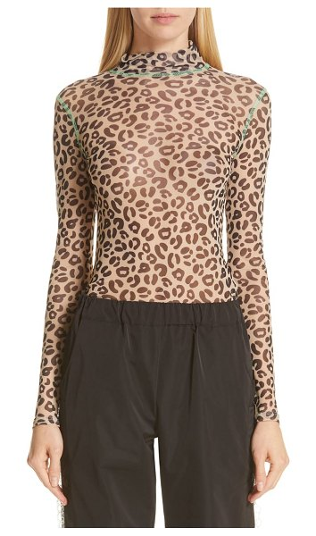 Sandy Liang promise top in brown - Sheer leopard-print stretch mesh makes this...
