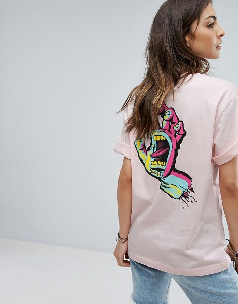 Santa Cruz Boyfriend T-Shirt With Screaming Hand Back Print in pink - T-shirt by Santa Cruz, Soft-touch jersey, Scoop neck,...