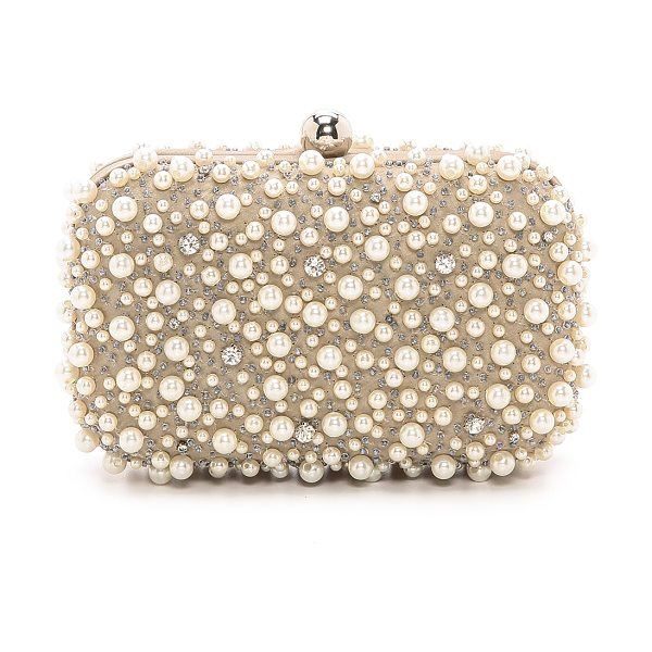 SANTI beaded box clutch in taupe - Fabric: Beaded satin Imitation pearls and cushion-cut...