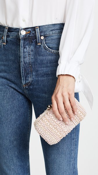 SANTI beaded minaudiere in pink - Tonal beadwork brings intricate texture to this petite...