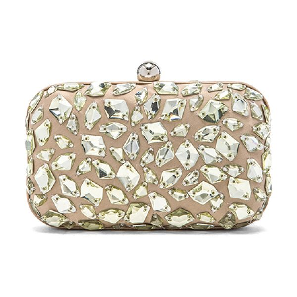 SANTI Crystal beaded clutch in beige - Jeweled satin fabric exterior with satin fabric lining....