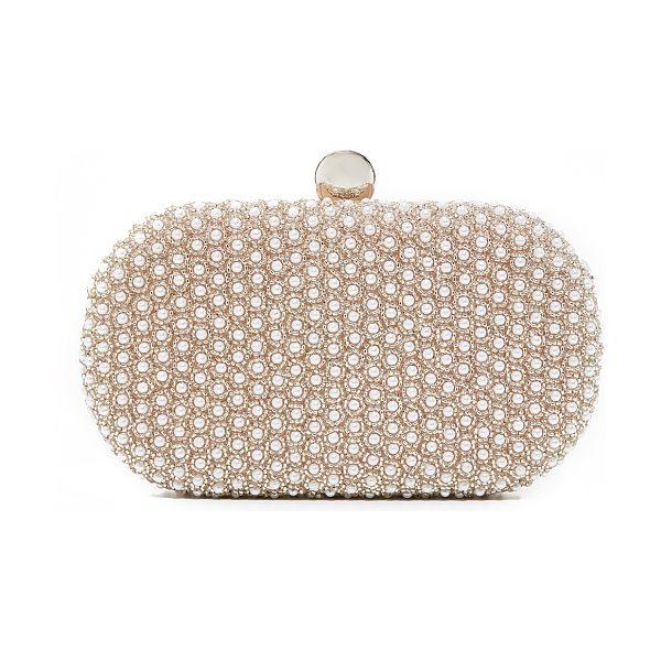 SANTI imitation pearl stud clutch in taupe/silver - A hardshell Santi clutch with elegant faux-pearl...