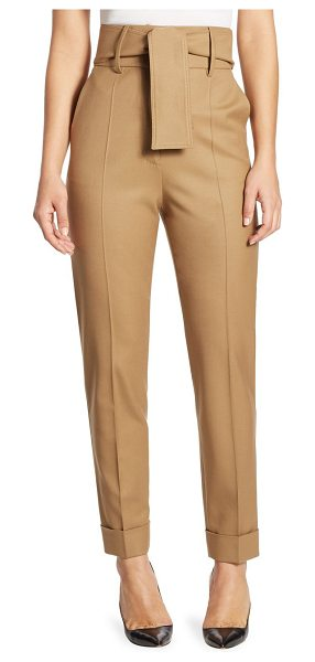 SARA BATTAGLIA belted high-waist wool trousers in camel - Straight-cut wool trouser with cinched high waist....