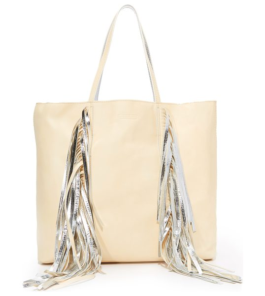 SARA BATTAGLIA everyday shopper tote in cream/silver - Swingy fringe punctuates the front of this slouchy Sara...