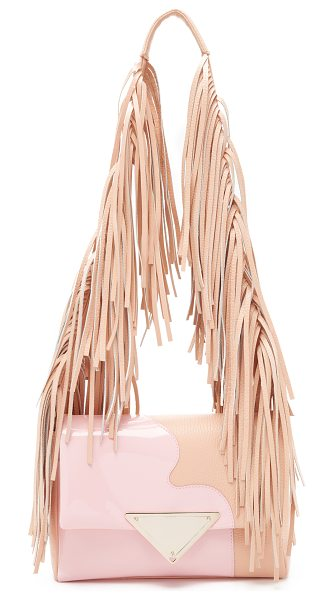 SARA BATTAGLIA Patent teresa shoulder bag - Dense fringe covers the shoulder strap of this pebbled...