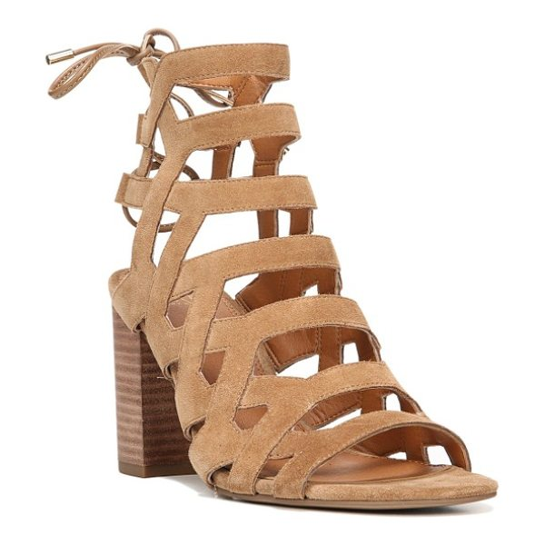SARTO By Franco Sarto connie block heel cage sandal in toasted barley suede - Bold leather straps ladder dramatically up the front of...