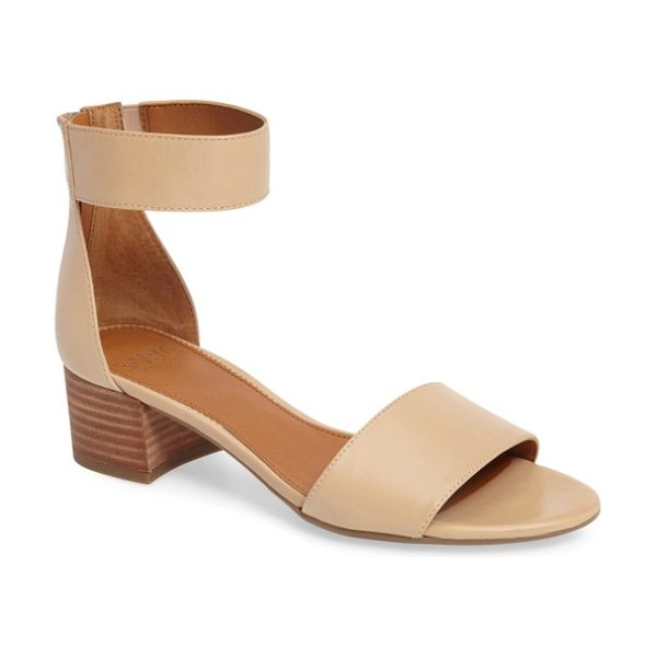 SARTO By Franco Sarto 'fidela' block heel sandal in summer beige leather - Laser-cut straps add visual interest to a minimalist...