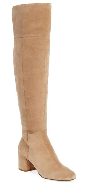 SARTO By Franco Sarto korrine over the knee boot in sandstone suede - A just-right wrapped heel lifts an over-the-knee boot...