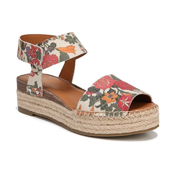 SARTO By Franco Sarto oak platform wedge espadrille in blossom printed leather - A double layer of braided jute adds tropical lift to a...