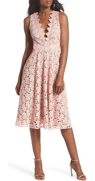 SAU LEE ashley guipure lace fit & flare dress in pink - Classic and elegant with a sultry twist, this guipure...
