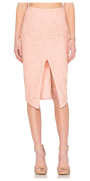 SAU Zoe lace pencil skirt - Poly blend. Hand wash cold. Fully lined. Front slit....