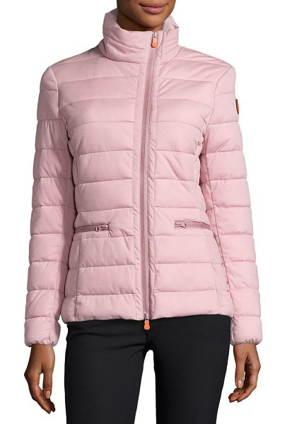 Save The Duck Funnel-Neck Asymmetric-Zip Puffer Jacket in misty rose - ONLYATNM Only Here. Only Ours. Exclusively for You. Save...