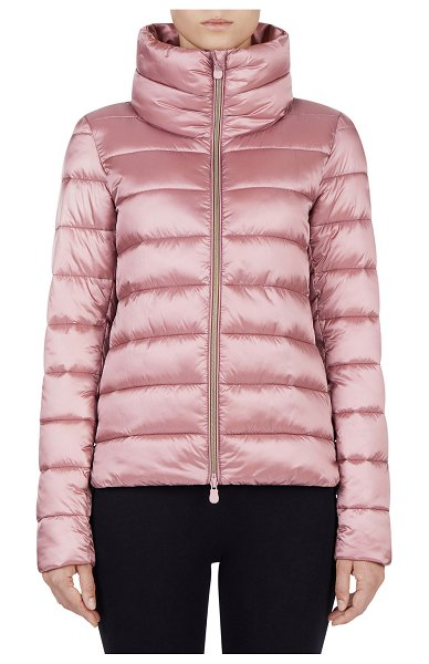 Save The Duck Iris Channel-Quilted Raised-Collar Jacket in misty rose