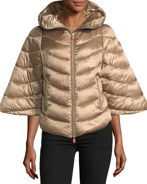 Save The Duck Iris Quilted Puffer Zip-Front Hooded Poncho in macaroon beige - Save The Duck quilted puffer coat with synthetic...