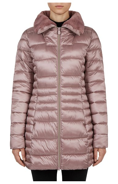 Save The Duck Long Iris Faux Fur-Collar Puffer Coat in misty rose